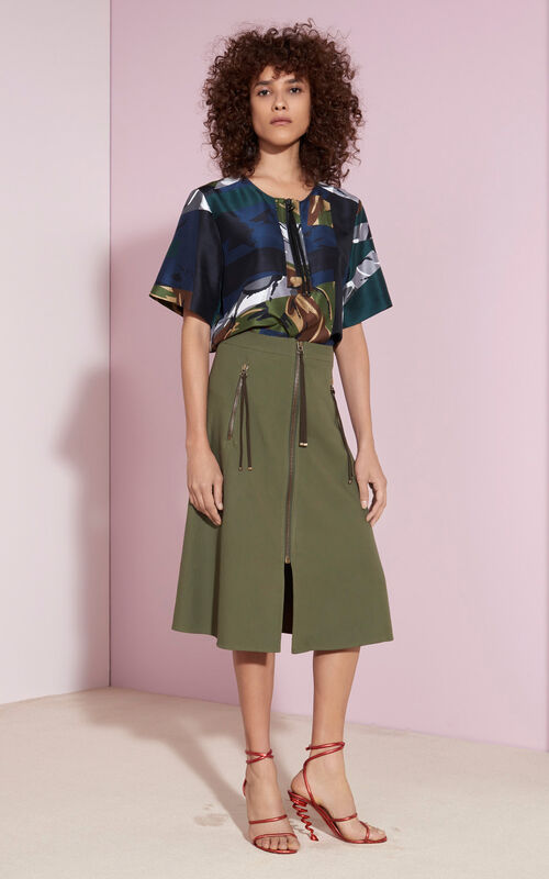 Cotton A-line Skirt, DARK KHAKI, KENZO
