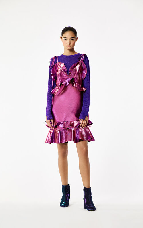 BRIGHT PURPLE 'Holiday Capsule Collection' Mini Ruffle Dress for women KENZO