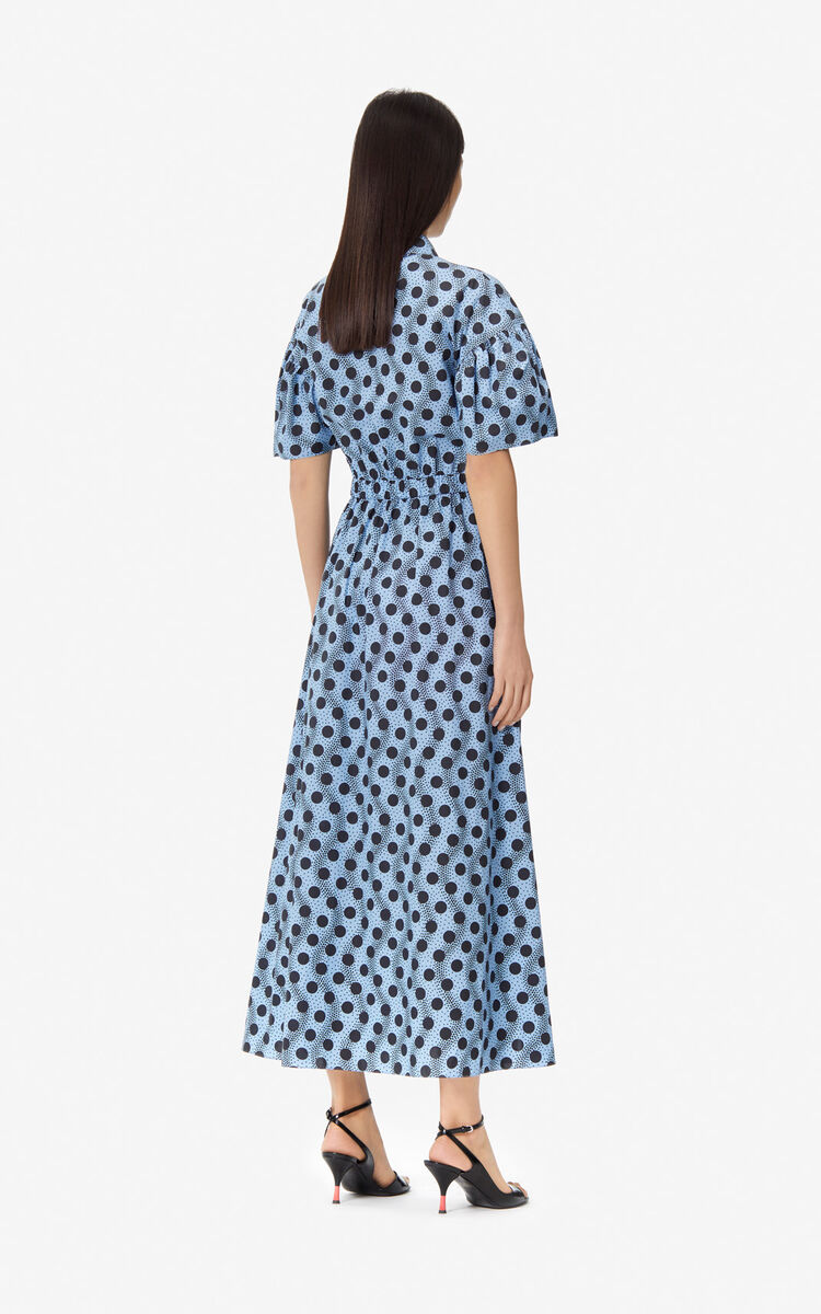 SKY BLUE Long 'Wave Polka' shirt dress for women KENZO