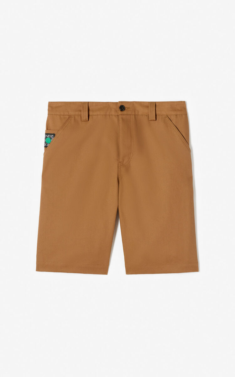 CHESTNUT 'Square logo' shorts for men KENZO