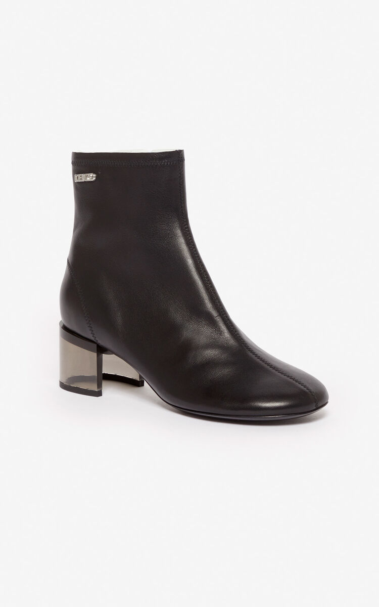 BLACK K-Round high heel ankle boots for unisex KENZO
