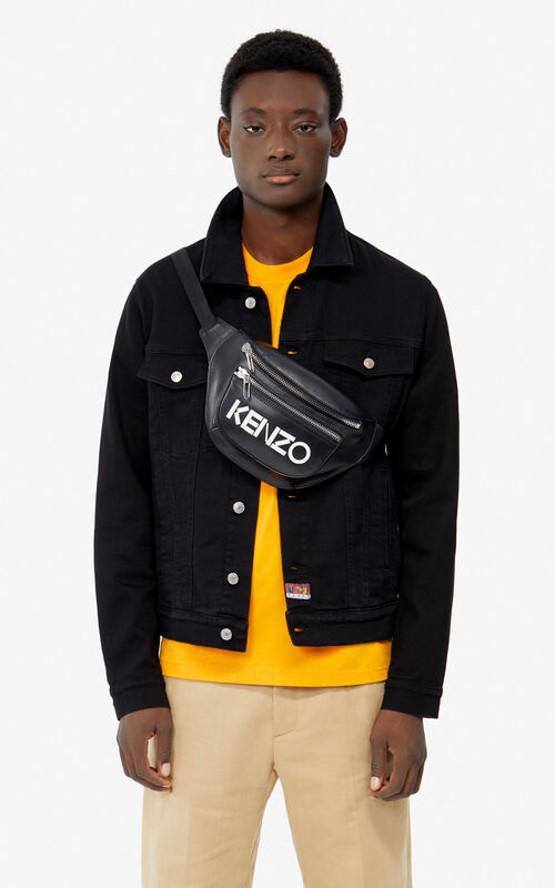 BLACK KENZO logo leather bumbag for men