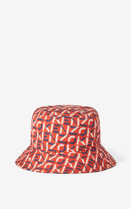 DEEP ORANGE KENZO Sport monogrammed bucket hat for men