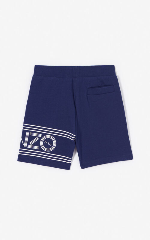 NAVY BLUE KENZO logo shorts for men