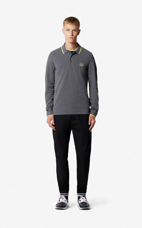 DARK GREY Long sleeve Tiger polo shirt for men KENZO