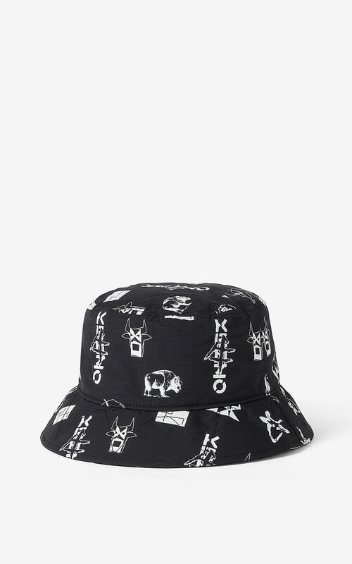 BLACK 'Sign & Symbol' sun hat for unisex KENZO