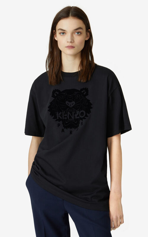 BLACK Tiger Flock oversize T-shirt for women KENZO