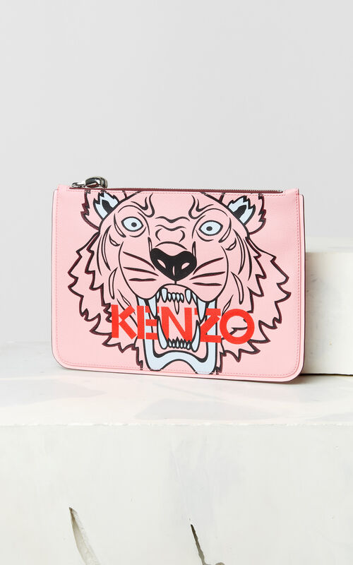 FADED PINK A4 Tiger clutch for unisex KENZO