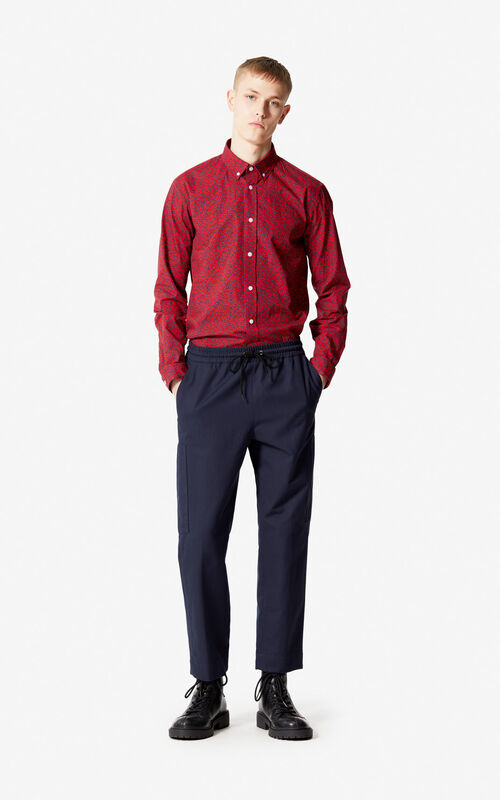 NAVY BLUE Leopard trousers for men KENZO