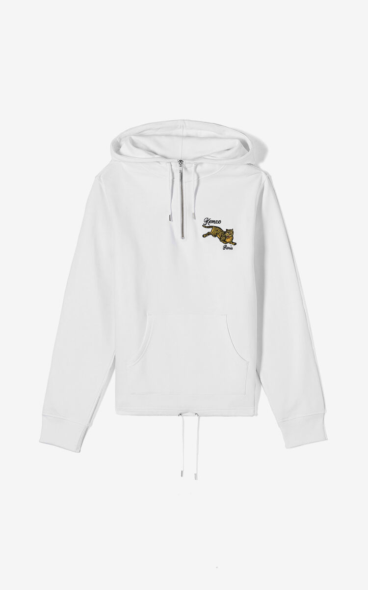 WHITE 'Jumping Tiger' hoodie for men KENZO