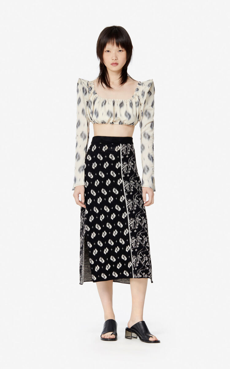 BLACK 'Ikat' midi skirt for women KENZO