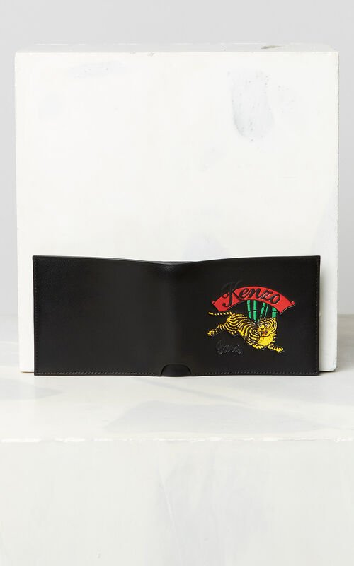 BLACK 'Jumping Tiger' leather wallet for unisex KENZO