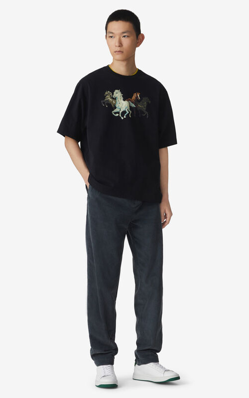 BLACK 'Chevaux KENZO' T-shirt for men