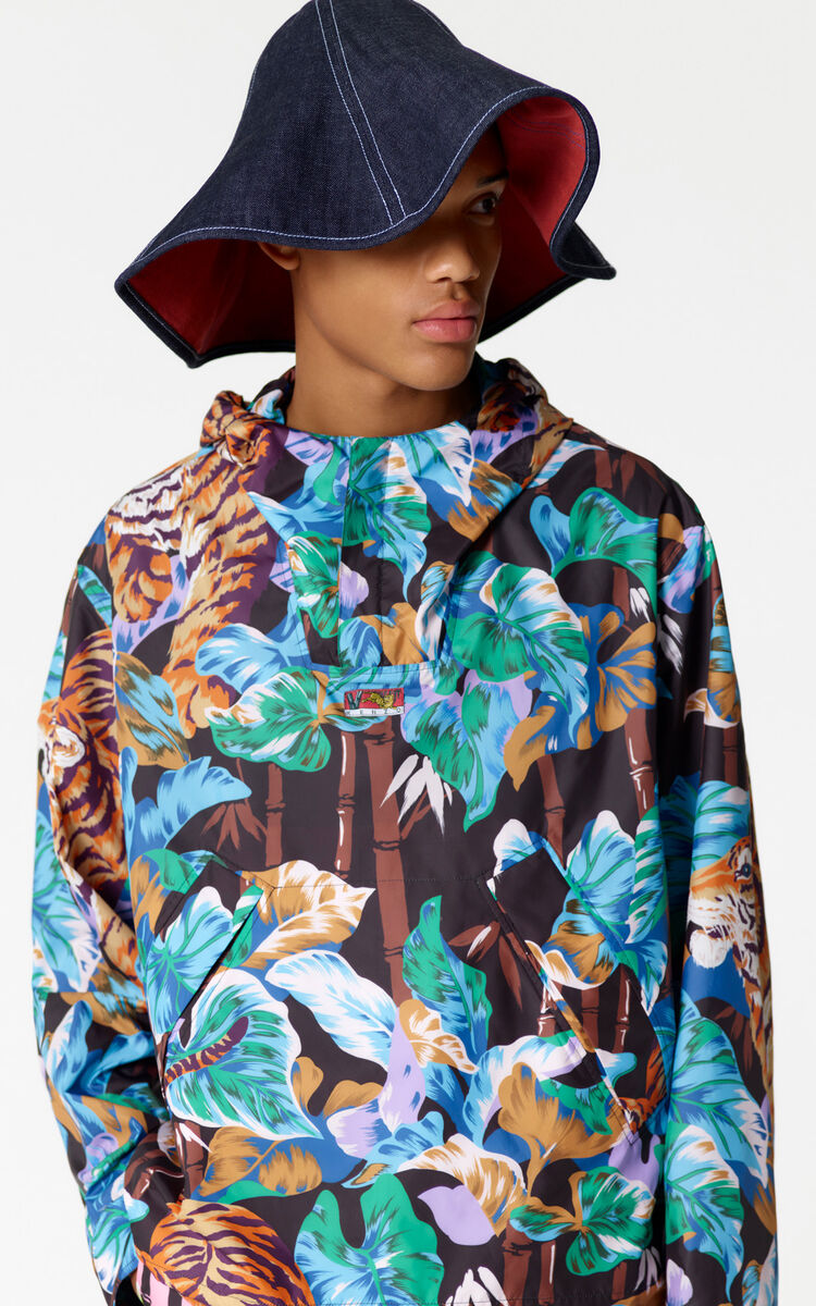BLACK 'Bamboo Tiger' hooded windbreaker for men KENZO