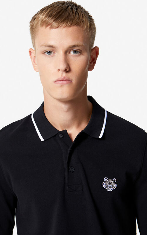 BLACK Long sleeve Tiger polo shirt for men KENZO