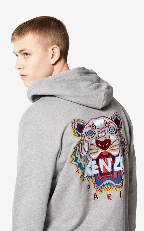 DOVE GREY Tiger zipped sweatshirt for men KENZO
