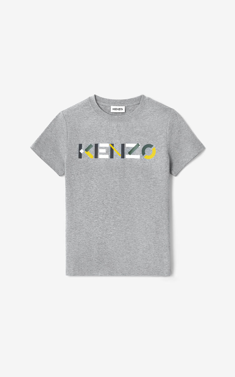 DOVE GREY KENZO t-shirt with multicoloured logo for men