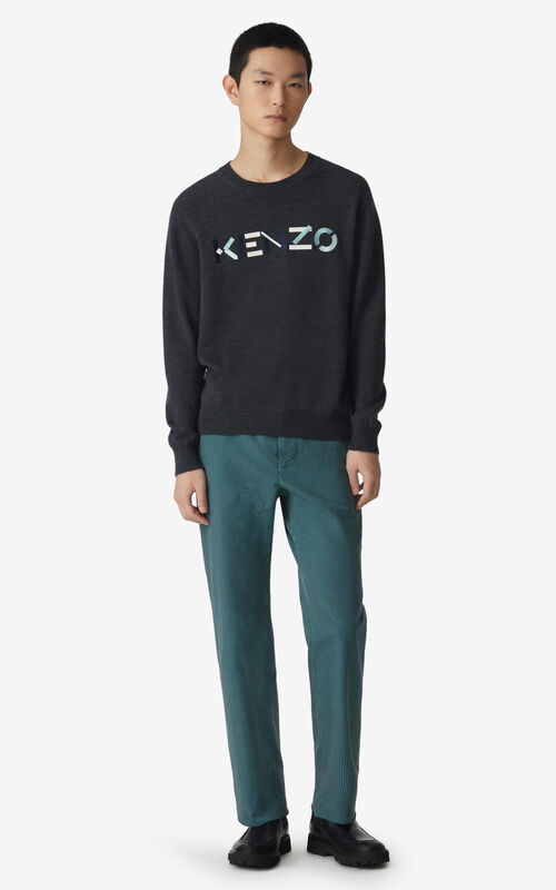 STONE GREY KENZO Logo jumper for men