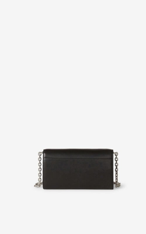 BLACK KENZO K leather chain wallet for unisex