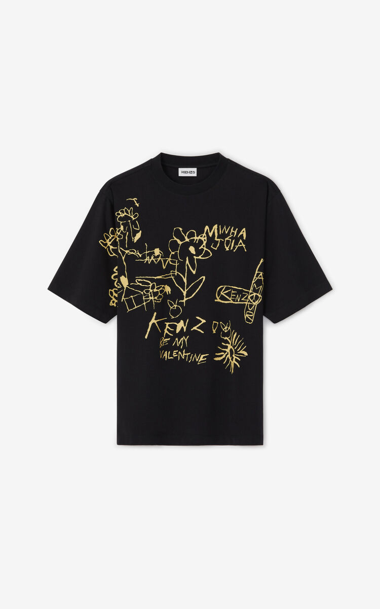 BLACK Valentine's Day Capsule 'Valentine's flowers' oversize T-shirt for men KENZO