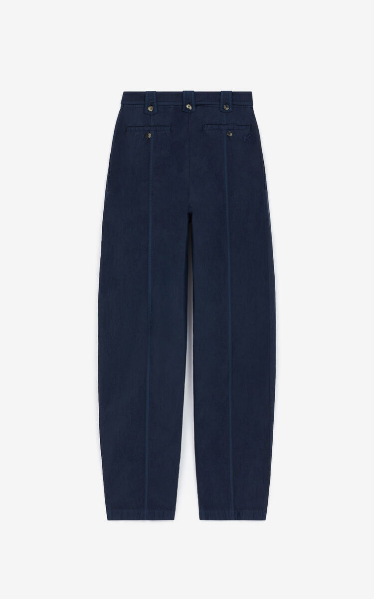 BLUE BLACK Tapered trousers with belt for women KENZO