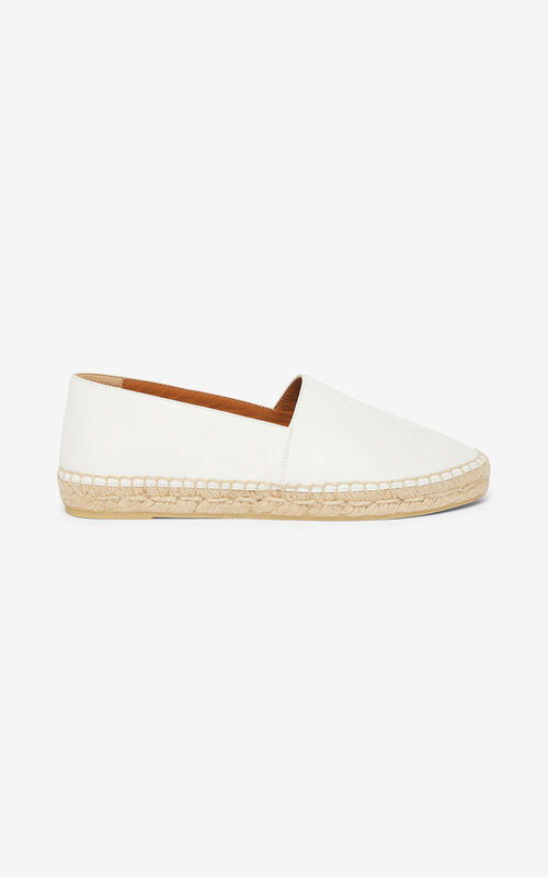 WHITE Tiger leather espadrilles for unisex KENZO