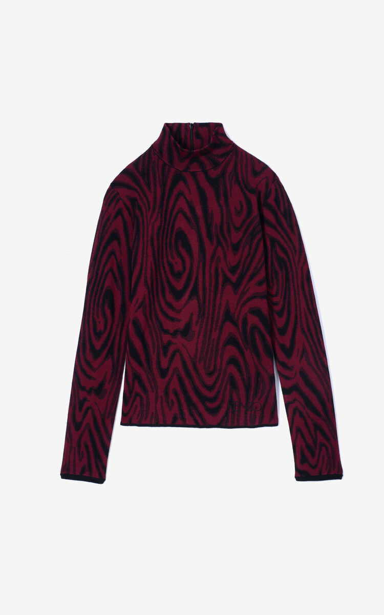 BORDEAUX 'Moire Tiger' jacquard jumper for women KENZO