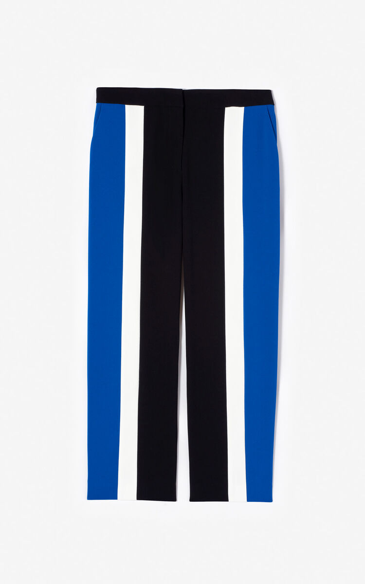 BLACK Colorblock crepe trousers for women KENZO