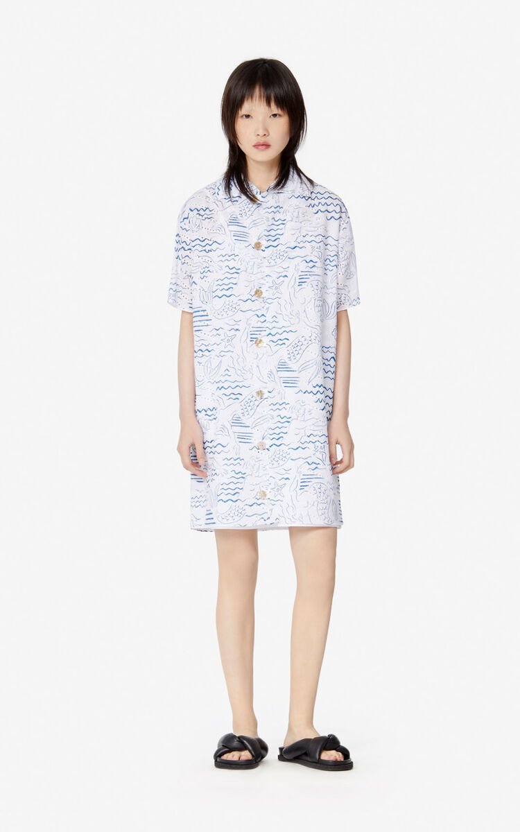 DUCK BLUE 'Wave Mermaid' shirt dress for women KENZO