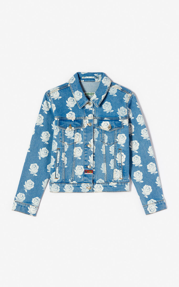 WHITE 'Roses' denim jacket for women KENZO