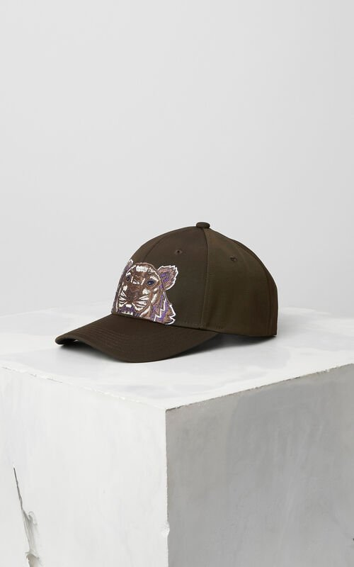 DARK KHAKI Tiger Canvas Cap for men KENZO