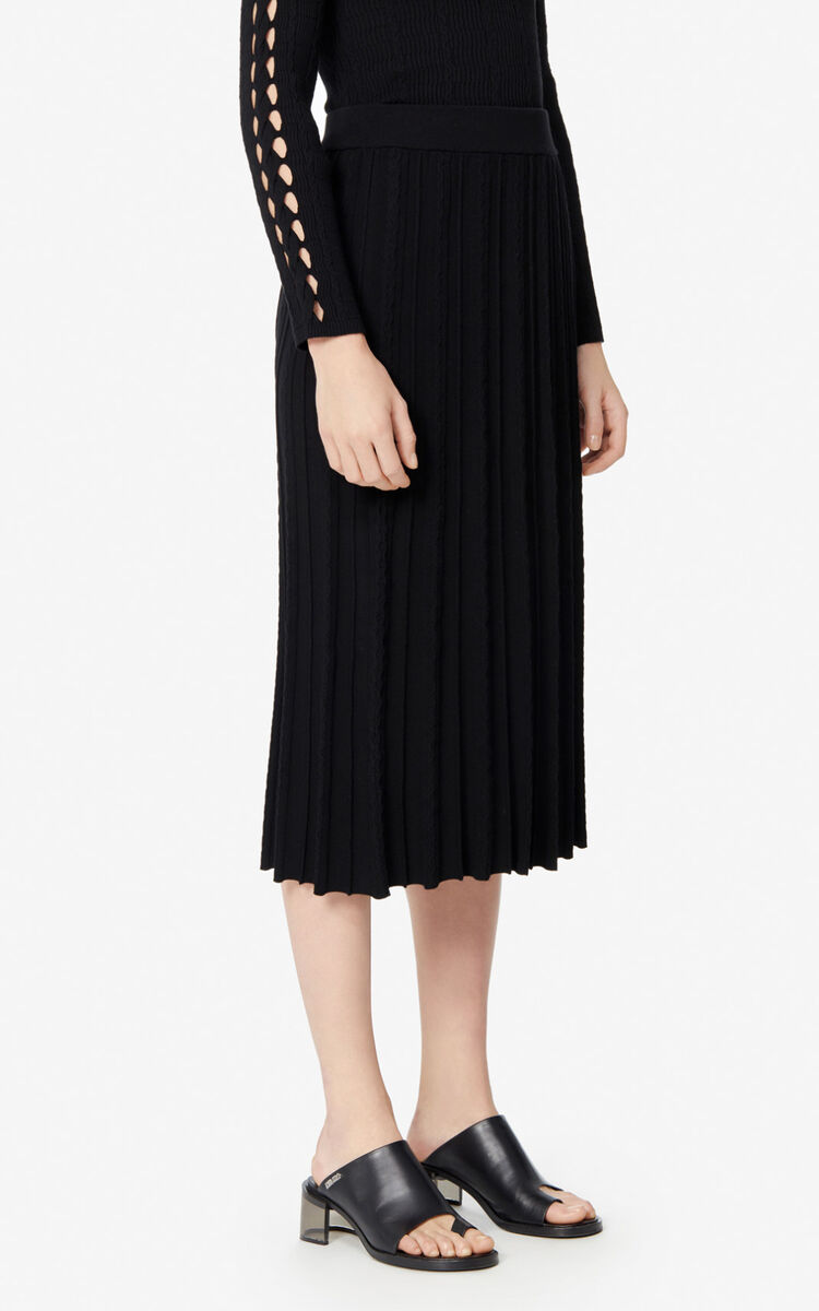 BLACK Pleated midi skirt  for women KENZO