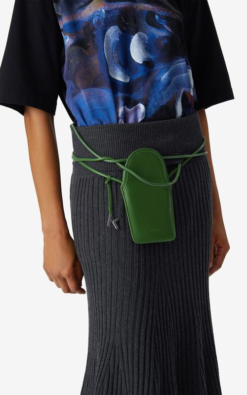 GRASS GREEN KENZO Onda leather crossbody phone holder for men
