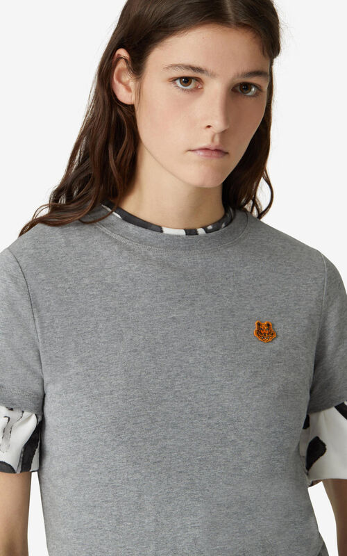 DOVE GREY Tiger Crest t-shirt for women KENZO