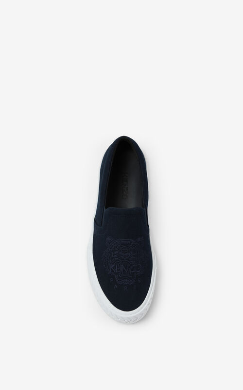 NAVY BLUE K-Skate Tiger laceless canvas sneakers for unisex KENZO