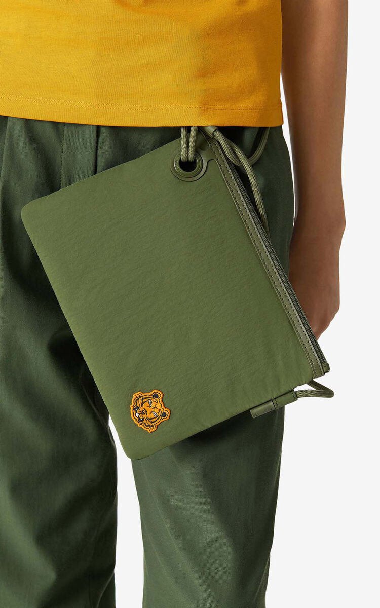KHAKI Tiger Crest bag with strap for unisex KENZO