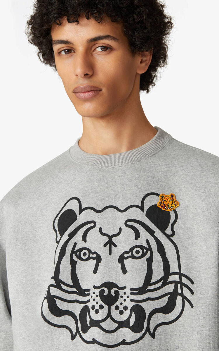 PEARL GREY K-Tiger sweatshirt for men KENZO