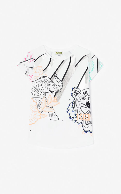 WHITE 'Disco Jungle' T-shirt for women KENZO