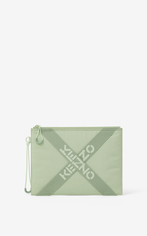 ALMOND GREEN KENZO Sport large clutch for unisex