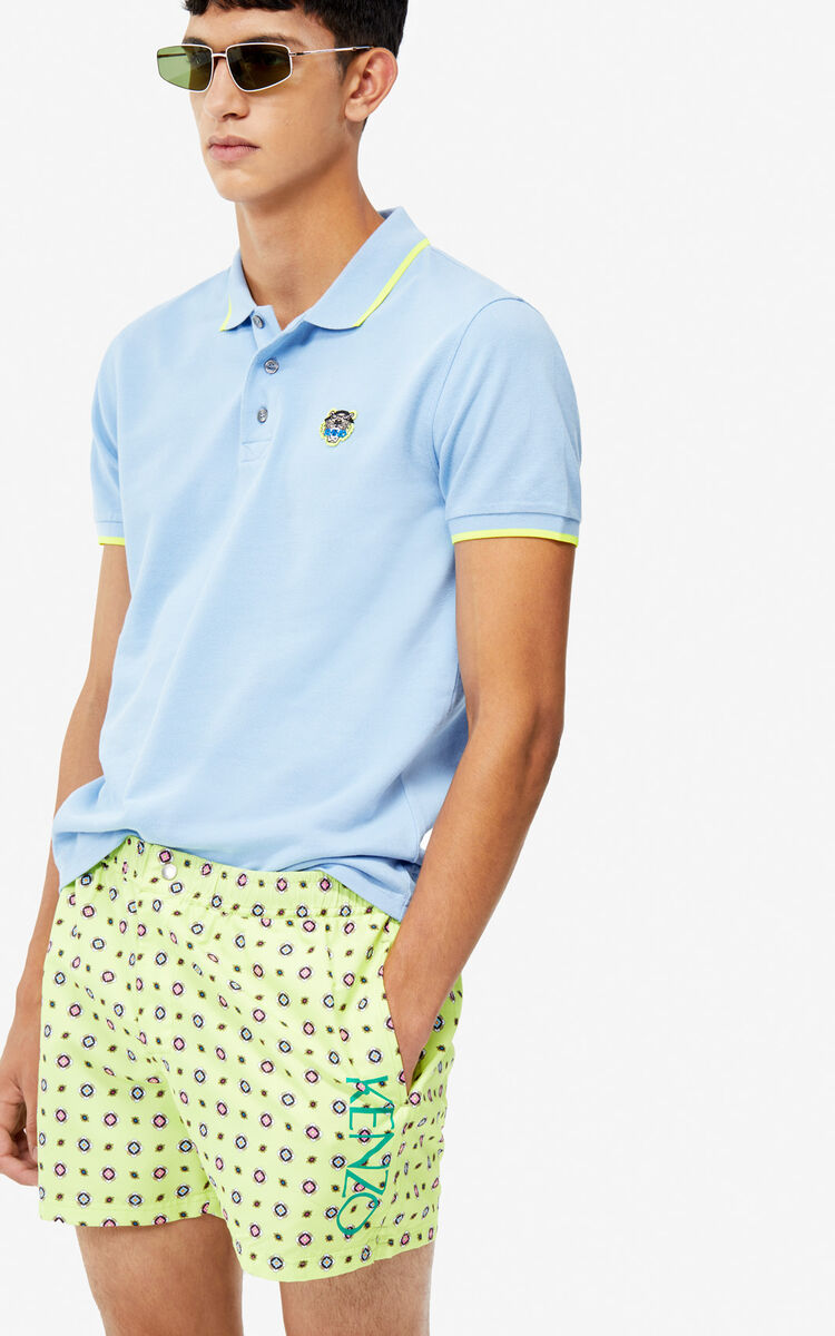 SKY BLUE Fitted Tiger polo shirt for men KENZO