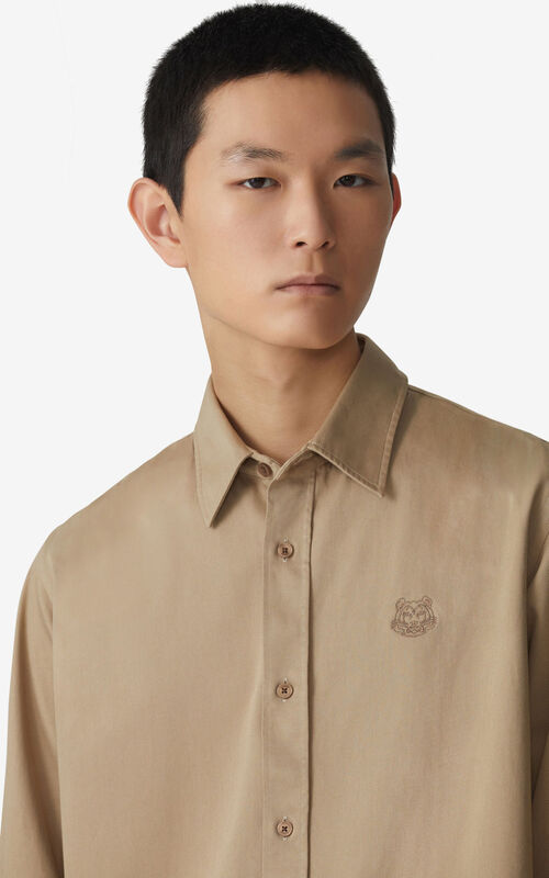 DARK BEIGE Tiger Crest casual shirt for men KENZO