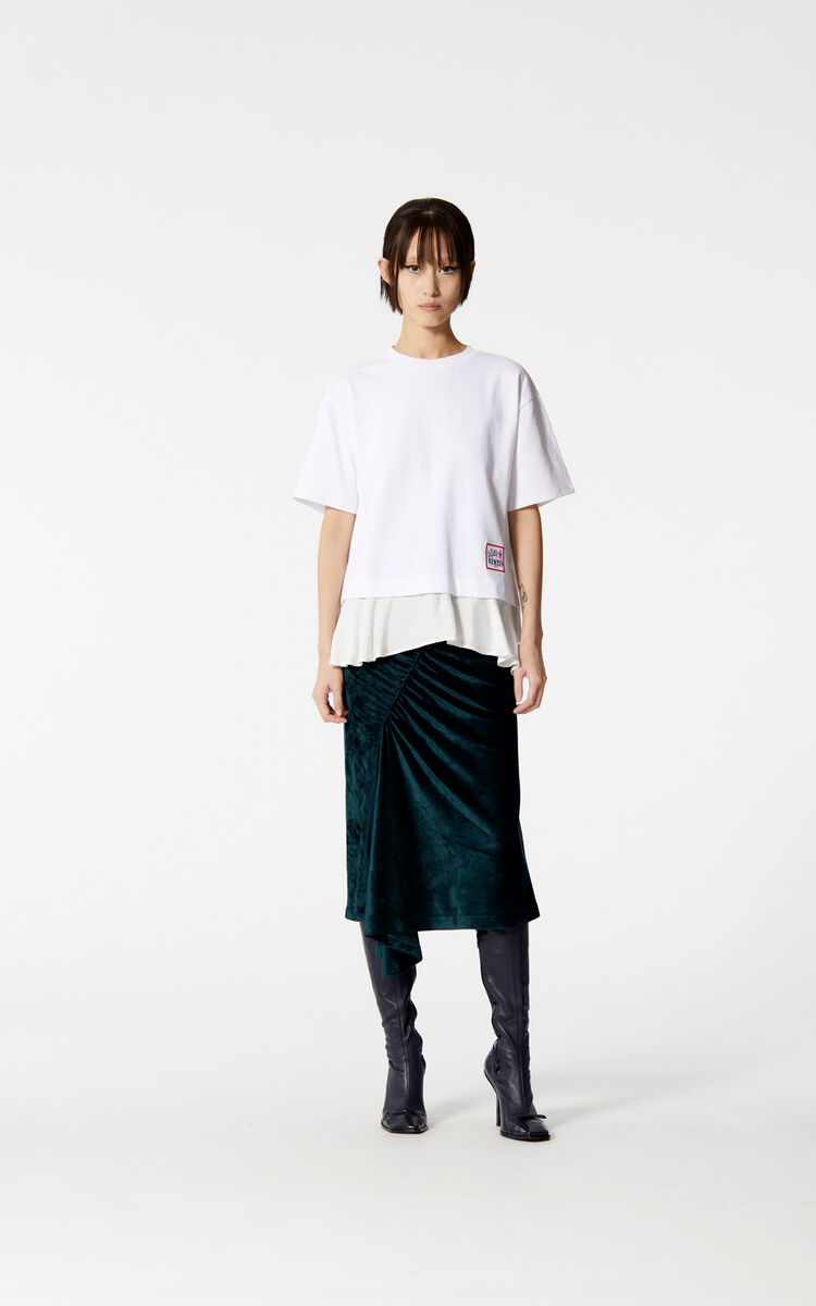 WHITE Bi-material 'Color by KENZO' top for women