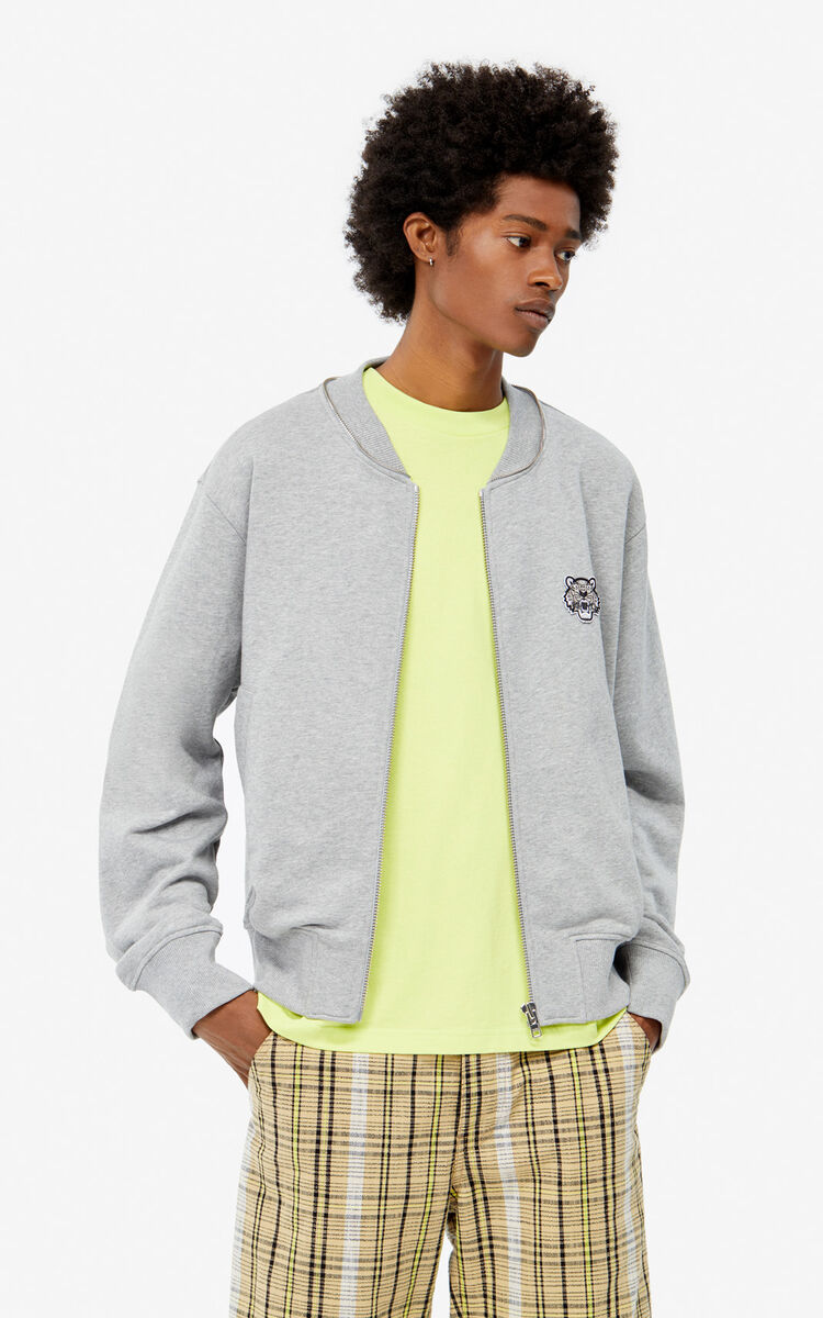 PEARL GREY Zipped Tiger hooded jacket for men KENZO