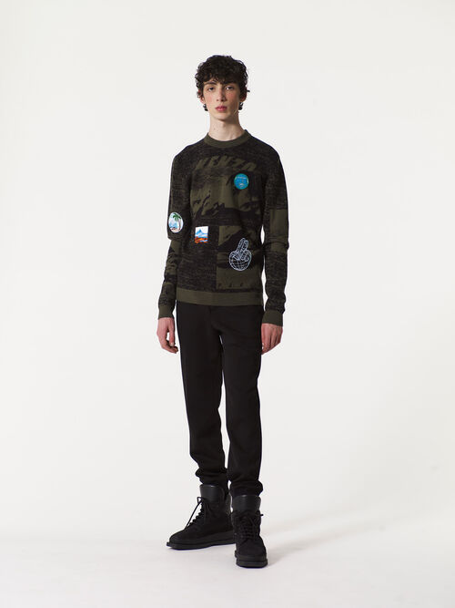 DARK KHAKI Landscape x Badges sweater for men KENZO