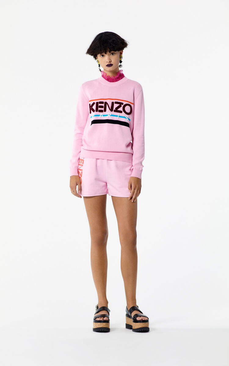 FLAMINGO PINK KENZO Logo shorts for women