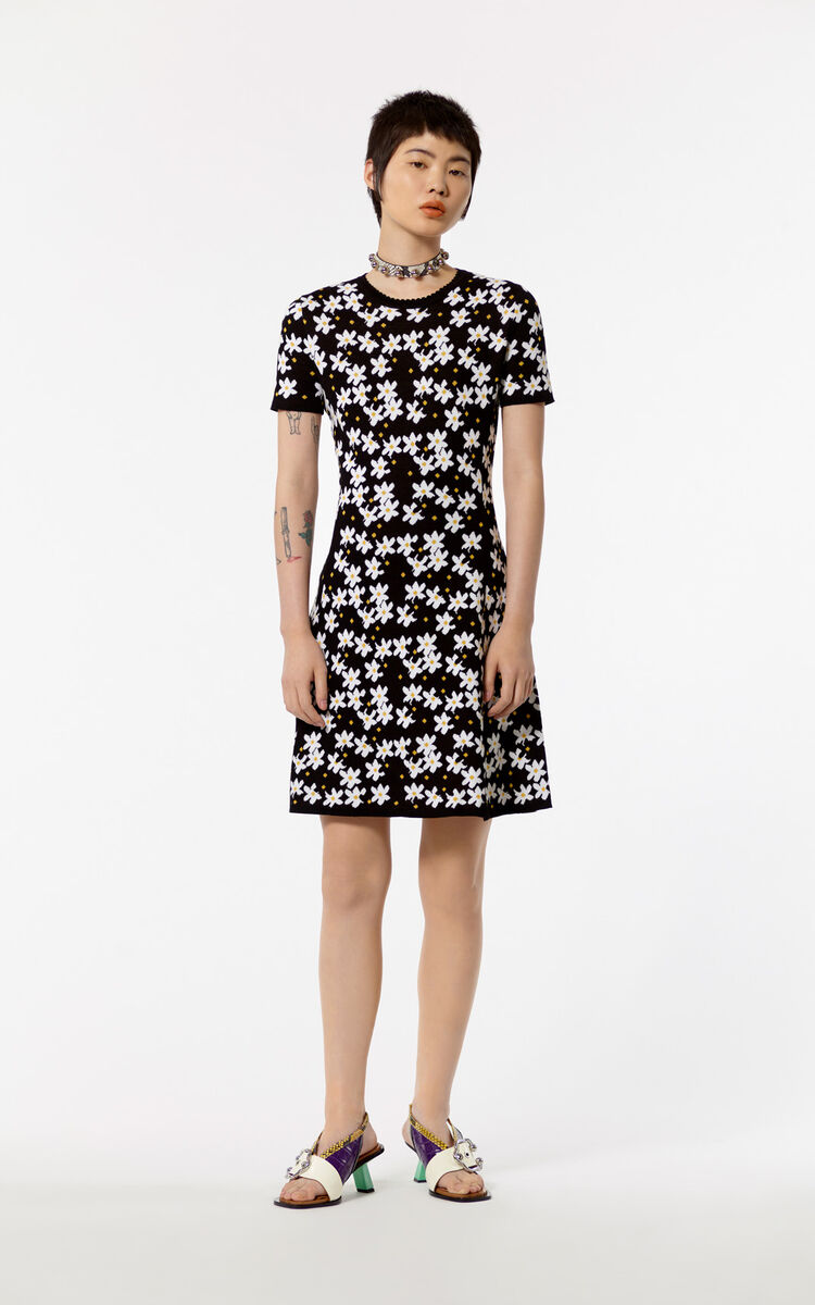 BLACK Knitted 'Jackie Flowers' dress for women KENZO