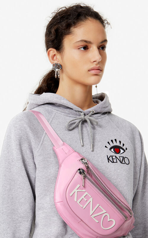 PASTEL PINK 'I ❤ KENZO Capsule' KENZO logo leather bumbag for women