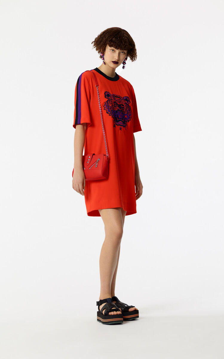 MEDIUM RED Tiger crepe dress for women KENZO