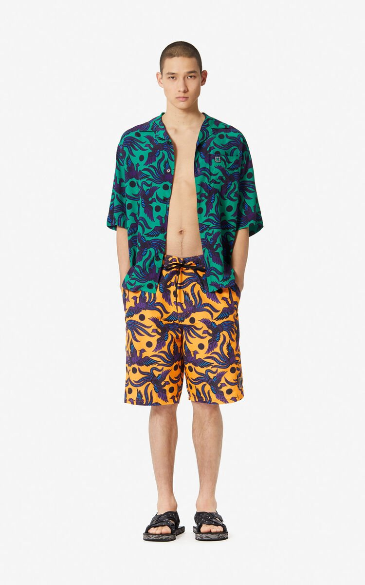 MEDIUM ORANGE 'Flying Phoenix' swim trunks for women KENZO