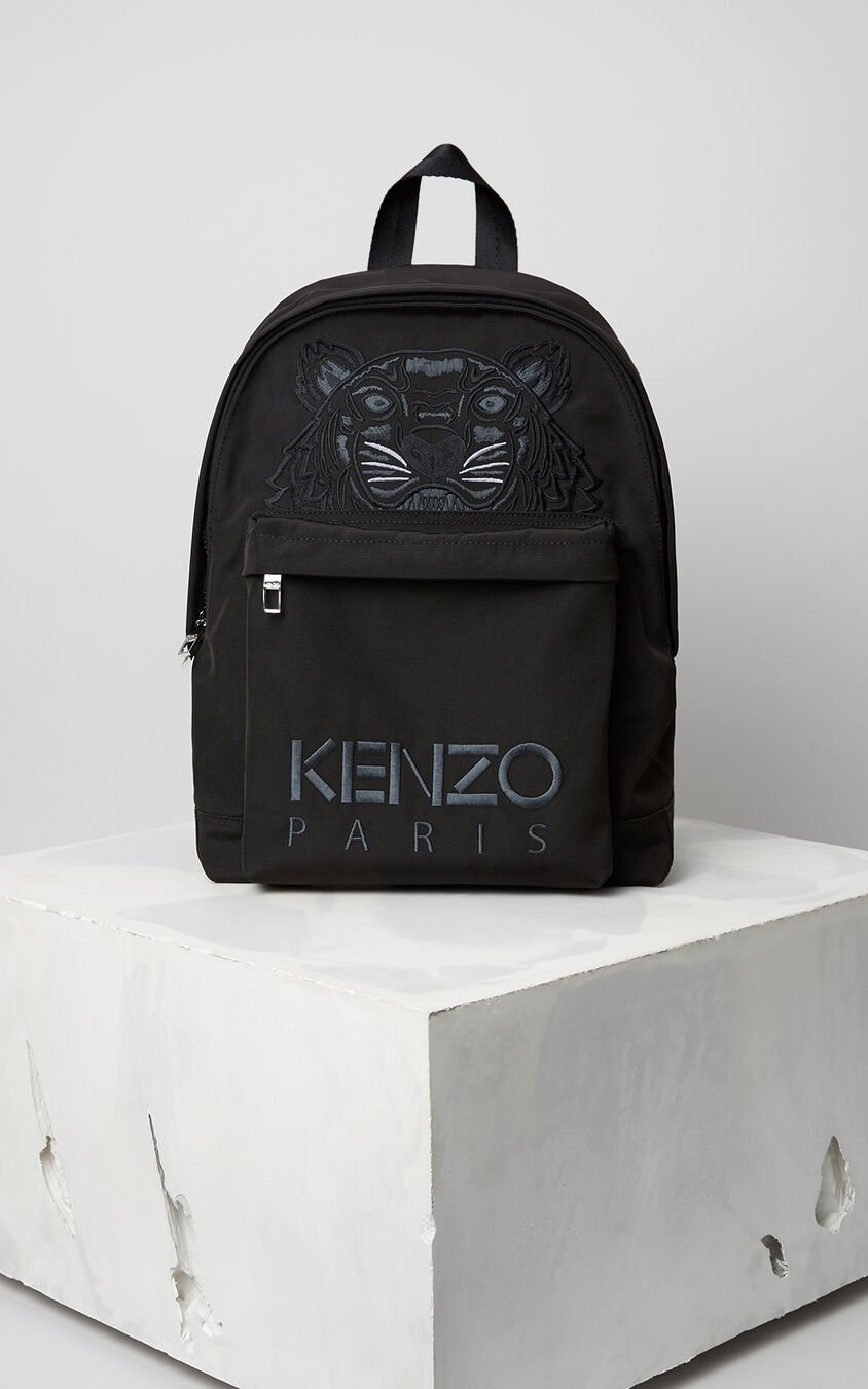 Large Tiger Canvas Backpack, BLACK, KENZO